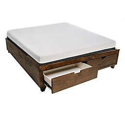 eLuxury Supply® King Solid Wood Storage Bed in Walnut