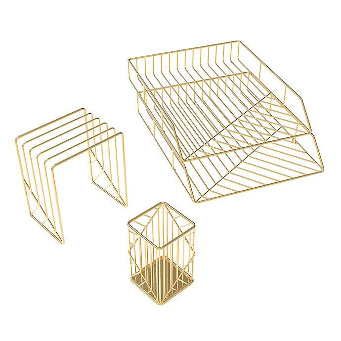 Alternate image 1 for U Brands Vena 4-Piece Desk Organization Kit in Gold