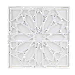 Madison Park Boho Notion 23.6-Inch Square Carved Wall Panel in White