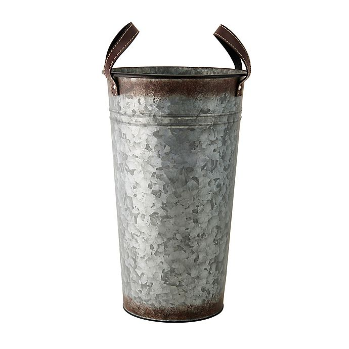 Alternate image 1 for Rustic Galvanized Hammered Metal Vase with Strap Handles