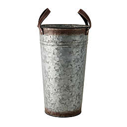 Rustic Galvanized Hammered Metal Vase with Strap Handles