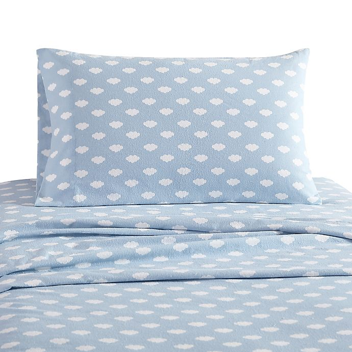 Alternate image 1 for UGG® Juvie Flannel Queen Sheet Set in Sky Blue