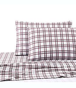 Juego de sábanas queen UGG® de franela con diseño a cuadros en rojo cabernet