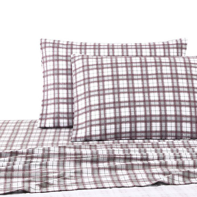 Alternate image 1 for UGG® Flannel Twin Sheet Set in Cabernet Plaid