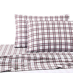 UGG® Flannel Twin Sheet Set in Cabernet Plaid
