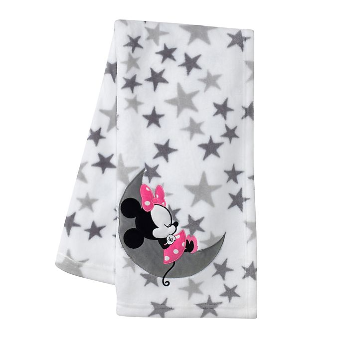 Alternate image 1 for Lambs & Ivy® Minnie Mouse Baby Blanket in Pink/Grey