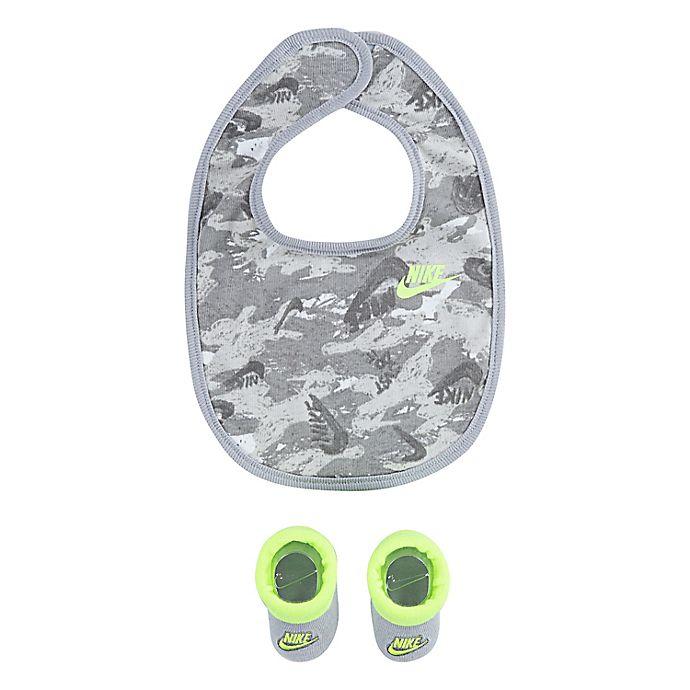 Alternate image 1 for Nike® Futura Newborn Camo Bib and Bootie Set in Light Grey