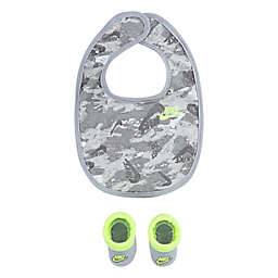 Nike® Futura Newborn Camo Bib and Bootie Set in Light Grey