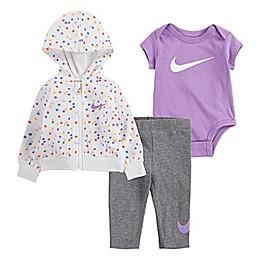 Nike® 3-Piece White Dot Bodysuit, Jacket and Pant Set in Purple/White