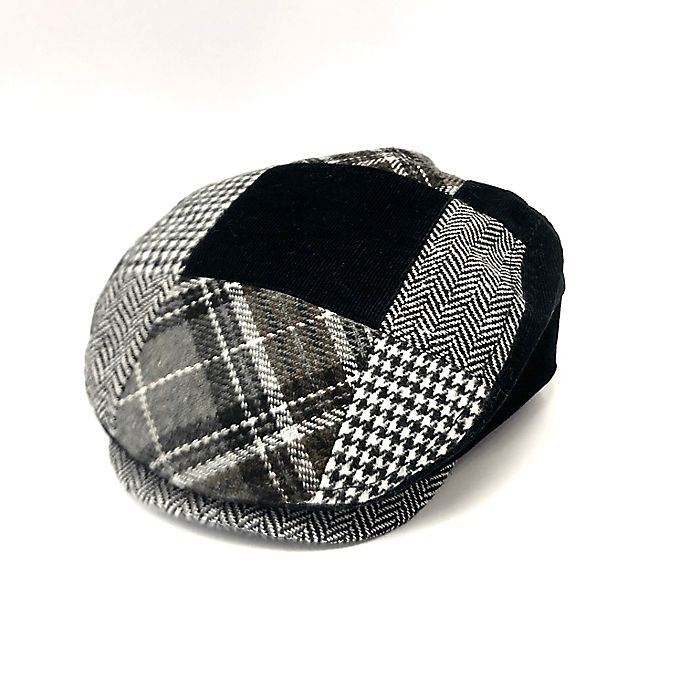 Alternate image 1 for Toby Fairy™ Newborn Houndstooth Patchwork Cabbie Hat in Cloud