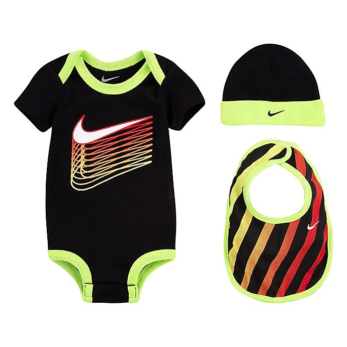 Alternate image 1 for Nike® Newborn 3-Piece Futura Swoosh Bodysuit, Hat, and Bootie Set in Black/Green