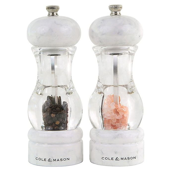 Alternate image 1 for Cole & Mason 105 Marble 2-Piece Salt and Pepper Mill Gift Set