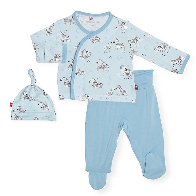 Alternate image 1 for Magnetic Me® by Magnificent Baby 3-Piece Zebra Shirt, Pant and Hat Set in Blue