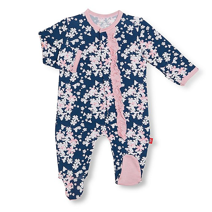Alternate image 1 for Magnetic Me® by Magnificent Baby Floral Aberdeen Footie in Navy/Pink
