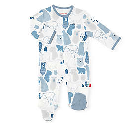 Magnetic Me® by Magnificent Baby Unbearably Cute Magnetic Footie in Blue/White