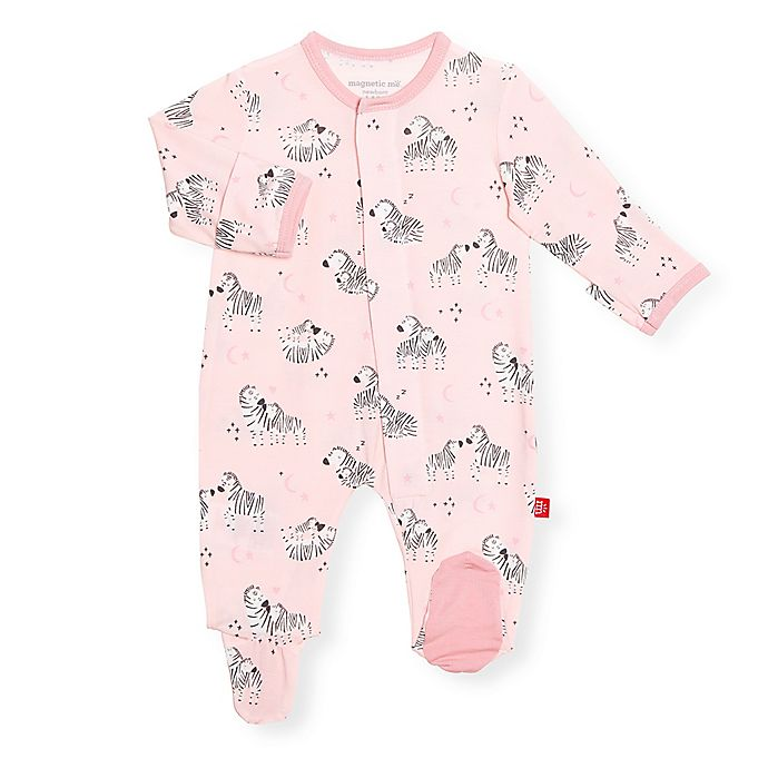 Alternate image 1 for Magnetic Me® by Magnificent Baby Little Ones Zebra Footie in Pink