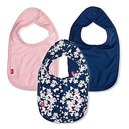 Magnetic Me® by Magnificent Baby One Size 3-Pack Floral Aberdeen Bibs in Navy/Pink