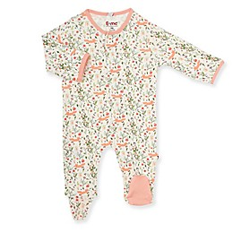 E=MC2 Sweet Fox Floral Magnetic Footie in Pink
