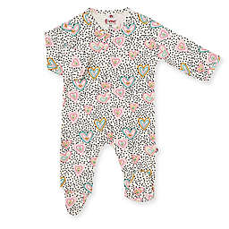 E=MC2 Size 6M I Heart You Magnetic Footie in Pink