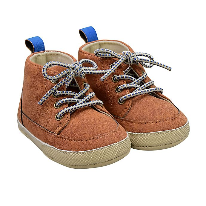 Alternate image 1 for On the Goldbug™ Size 3-6M Mid-Top Faux Leather Sneaker in Tan