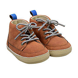 On the Goldbug™ Size 3-6M Mid-Top Faux Leather Sneaker in Tan