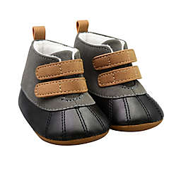 On the Goldbug™ Size 0-3M Duck Faux Leather Boot in Black/Grey