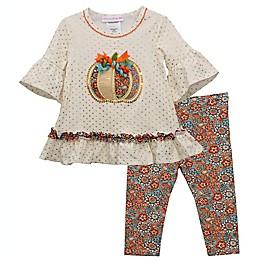 Bonnie Baby 2-Piece White Pumpkin Top and Legging Set