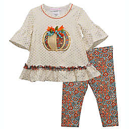 Bonnie Baby Size 0-3M 2-Piece White Pumpkin Top and Legging Set