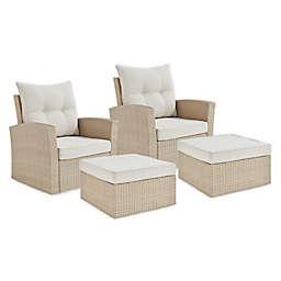 Canaan 4-Piece Wicker Outdoor Armchair Set in Cream