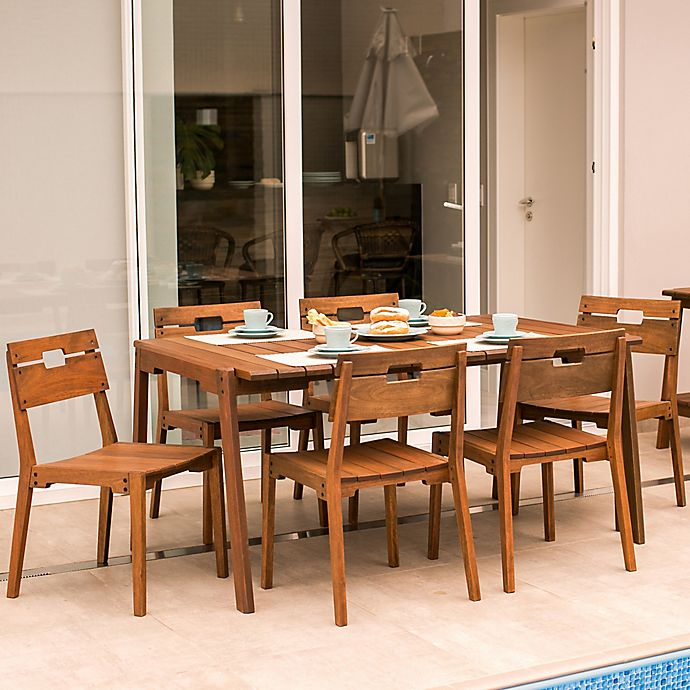 Otero 7 Piece Eucalyptus Outdoor Dining Table Set In Brown Bed Bath Beyond