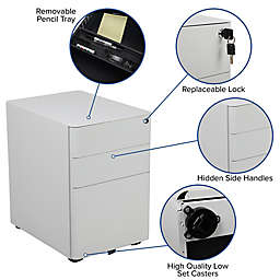 Flash Furniture Desk, Office Chair & Filing Cabinet Set in White