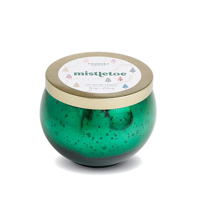 Alternate image 1 for Foundry Candle Co. Misteltoe 9 oz. Scented Mercury Glass Candle in Holiday Green