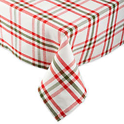 DII® Nutcracker Plaid Tablecloth in Red/White/Green