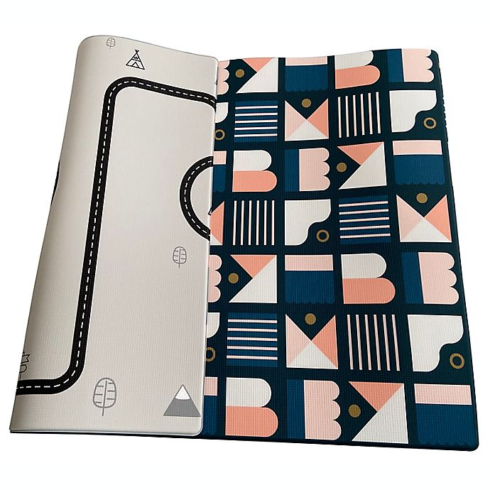 Alternate image 1 for Little Bot Large Candy Bar/Country Road Ofie Reversible Playmat in Blue