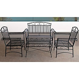 French Quarter 4-Piece Steel Outdoor Seating Set in Black