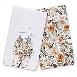 Fall Flower Girl Pattern Tea Towel Set