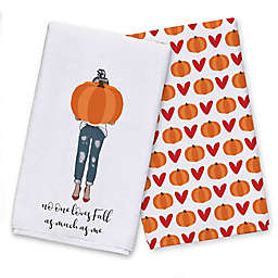 Love Fall Pumpkin Girl Tea Towel Set