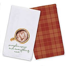 Pumpkin Spice Nice Heart Latte Tea Towel Set