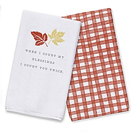 Count Your Blessings Leaves Tea Towel Set