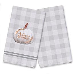 Autumn Greetings Plaid Tea Towel Set