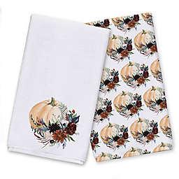 Fall Flowers and Pumpkins Tea Towel Set