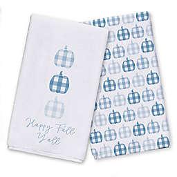 Plaid Pumpkins Pattern Blue Tea Towel Set