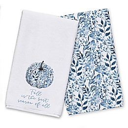 Blue Botanical Pumpkin Tea Towel Set