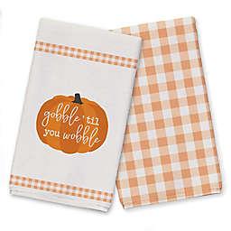 Gobble Wobble Pumpkin Plaid Border  Tea Towel Set