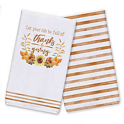 Full of Thanksgiving Fall Leaves Tea Towel Set