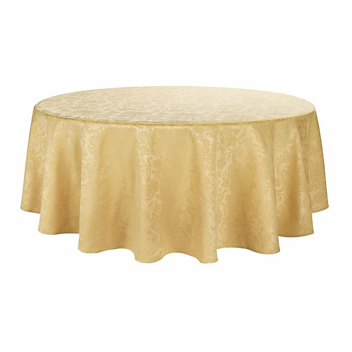 Alternate image 1 for Holiday Medley 70-Inch Round Tablecloth in Gold