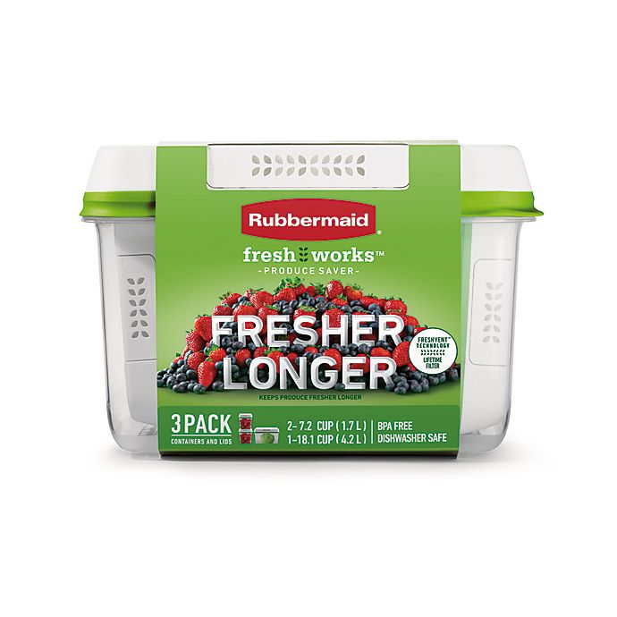 Alternate image 1 for Rubbermaid® Freshworks™ 3-Piece Clear Produce Saver Set