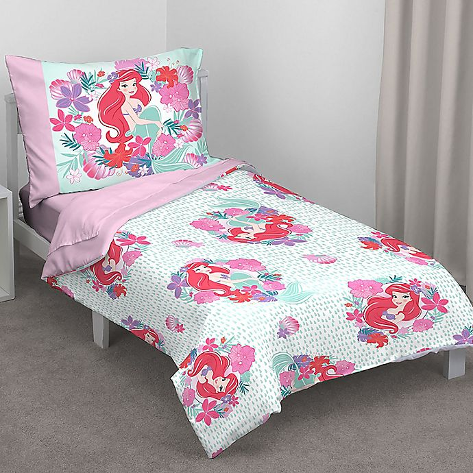 Alternate image 1 for Disney® Ariel 4-Piece Sea Garden Toddler Bedding Set in Pink