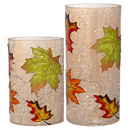 homeessentials & Beyond 9.84-Inch Glass LED Cylinder Decor in Amber (Set of 2)