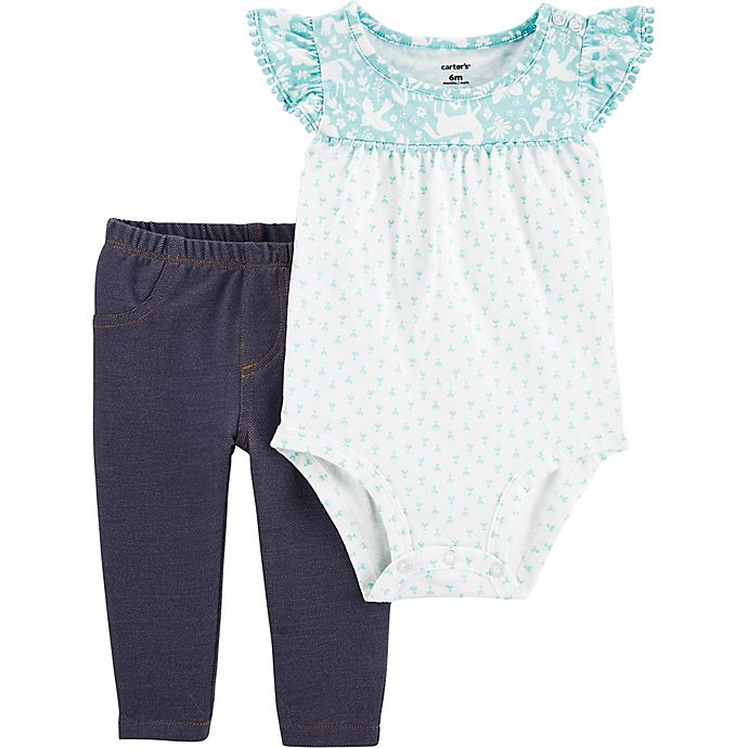 Alternate image 1 for carter's® 2-Piece Crocheted Bodysuit and Pant Set